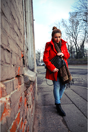 black leather Stradivarius boots - red Mango coat - light blue H&M jeans