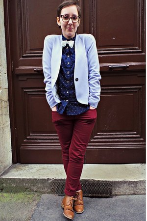 periwinkle H&M blazer - tawny andré boots - navy H&M shirt - maroon H&M pants