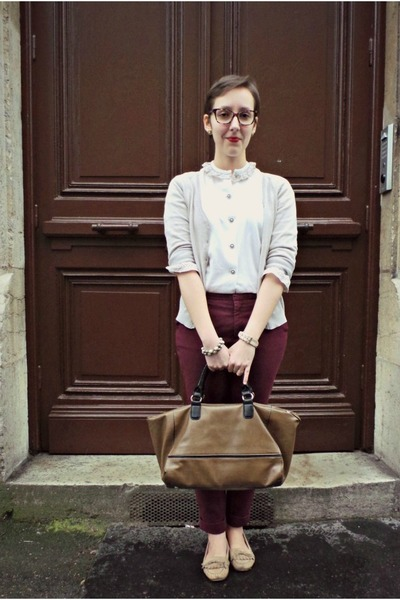 vintage shirt - Zara bag - H&M cardigan - Eram loafers - Zara pants