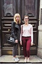 brick red H&M jeans - black Zara jacket - heather gray H&M leggings