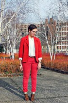 red Be you K jeans - brown andré boots - red vintage blazer