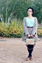 brown vintage skirt - brown Naf Naf jacket - light blue H&M top