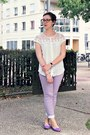 Eggshell-cotton-naf-naf-shirt-light-purple-naf-naf-pants