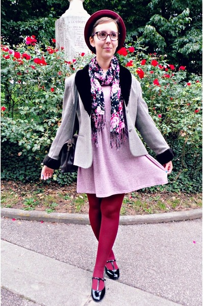 black Bijou Brigitte scarf - light pink new look dress - maroon H&M hat