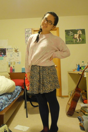 floral dress - sweater - tights