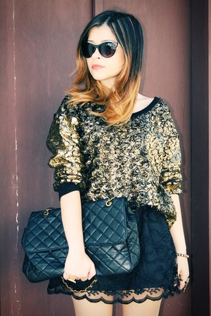 black skirt - black bag - bronze blouse