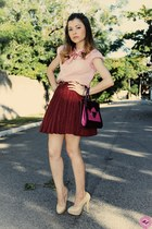 neutral shoes - bubble gum shirt - maroon bag - crimson skirt