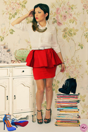 bronze necklace - white blouse - ruby red skirt - brown heels