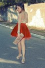 Beige-shoes-nude-bag-red-skirt-yellow-top
