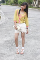 cream lace shorts shorts - chartreuse Chiffon Top top