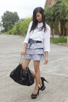 black Chanel bag - periwinkle skirt - black accessories