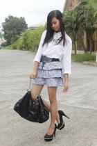 black Chanel bag - periwinkle skirt - black accessories