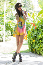 Jeffrey Campbell boots - tie dye dress UNIF dress - Karen Walker sunglasses