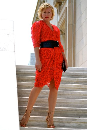 red unknown dress - tan suede Modern Vice shoes - black leather unknown belt
