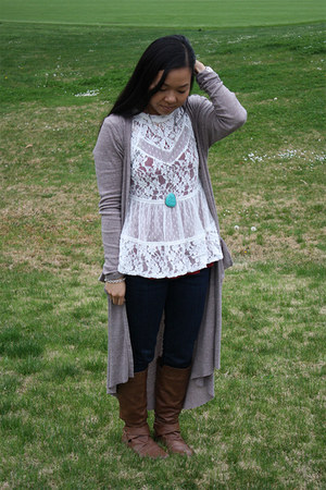 free people blouse - Steve Madden boots - joes jeans - free people cardigan