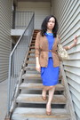Blue-calvin-klein-dress-bcbg-pumps-brown-forever-21-cardigan