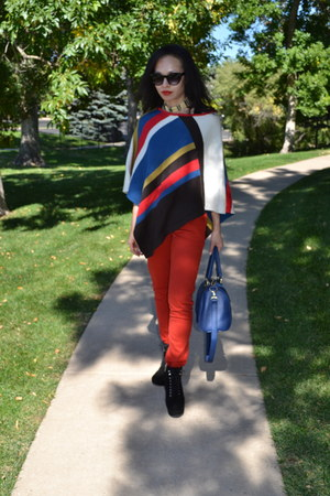 blue poncho thrifted vintage cape - black suede Michael Kors boots - red jeans