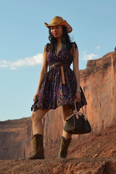 Forever 21 belt - Tony Lama boots - Charlotte Russe dress - Louis Vuitton bag