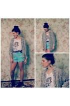 black vintage shirt - sky blue vintage shorts