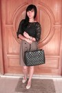 Black-chanel-bag-camel-button-skirt-navy-lace-top-zara-top