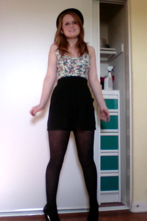 thrifted shirt - American Apparel skirt - Express tights - Charlotte Russe hat -