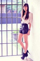 black faux leather F&H shorts - light pink bat winged H&M top - black boots Fore