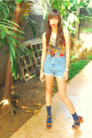 classic denim The Second Shop shorts - staccato shoes - navy giordano socks