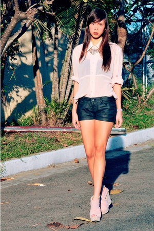 black leather Oxygen shorts - light pink sheer The Second Shop blouse - peach On