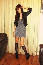 black jacket - floral dress - Forever 21 accessories - Graxie shoes
