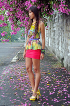 printed SM top - sm accessories belt - bodycon Pink Manila skirt - So FAB heels