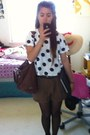White-forever-21-shirt-black-polka-dots-payless-tights-brown-coach-purse