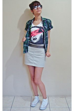 white t-shirt - white shoes - green shirt - beige skirt