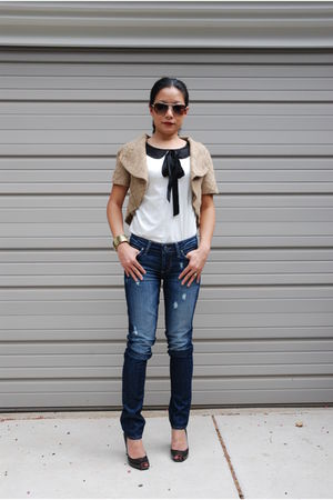 white D&G top - blue Paige Premium Denim jeans - gold EDUN jacket - gray Dolce a