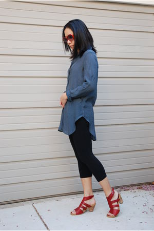 red Gabor shoes - blue Love Stitch top - black C&C California leggings