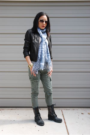 black Doma jacket - black Jeffrey Campbell boots - green J Brand jeans