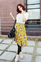 White-blouse-yellow-floral-skirt