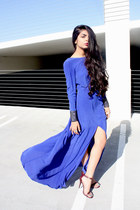 blue maxi slit threadsence dress