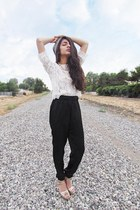 lace H&M top - ivory baggy pants TJ Maxx pants