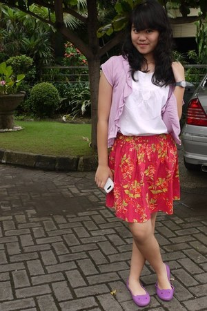 purple cardigan - white shirt shirt - red flowers skirt - purple flats