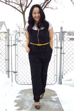 black jumpsuit H&M suit - white Bershka top - yellow joe fresh style belt