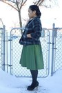 Dark-green-dress-dark-gray-plaid-jacket-black-heels