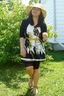 Beige-walmart-hat-white-maldita-dress-black-sirens-leggings-gold-divi-shoe