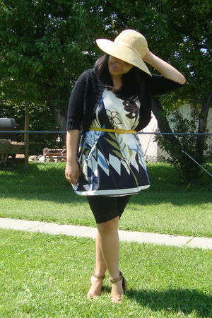 beige Walmart hat - white maldita dress - black Sirens leggings - gold Divi shoe