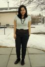 Green-greenhills-top-brown-sirens-belt-blue-zara-pants-black-sirens-neckla