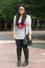 Black-zara-boots-black-daniel-footwear-bag-navy-zara-pants