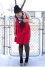 Nude-uniqlo-top-red-lola-dress-black-joe-fresh-style-tights