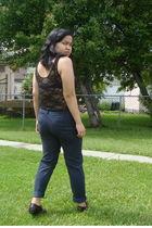 black American Apparel suit - blue Zara pants - black Suzy Shier belt - brown Go
