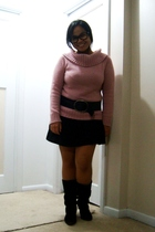 Old Navy sweater - Old Navy belt - skirt - le chateau boots - glasses