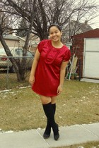 red Divi dress - black SM socks - black Celine shoes - white Forever 21 earrings