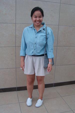 blue Gap shirt - beige Urban Behaviour shorts - white Keds shoes - blue thriftaw